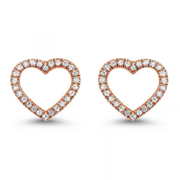 Lady's 14K Rose Gold Diamond Heart Stud Earrings Texas Gold Connection Greenville, TX