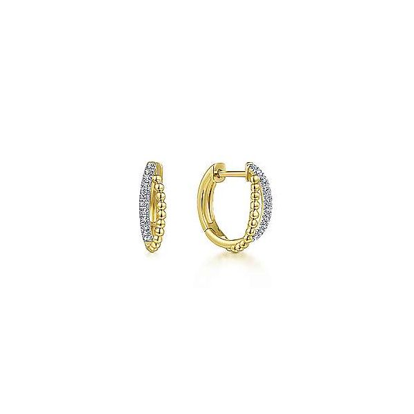 14k Yellow Gold Twisted Pave Diamond Huggie Earrings Texas Gold Connection Greenville, TX
