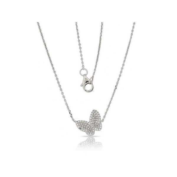 Lady's 14K White Gold Diamond Butterfly Pendant Necklace Texas Gold Connection Greenville, TX