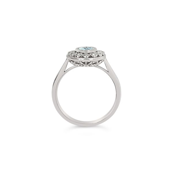 14K White Gold Aqua Diamond Engagement Ring Image 4 Texas Gold Connection Greenville, TX