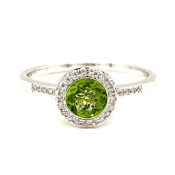 14K White Gold Halo Peridot Ring Texas Gold Connection Greenville, TX