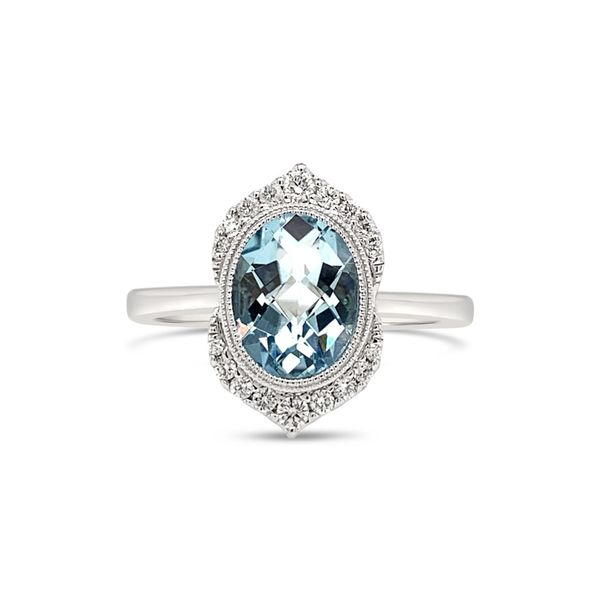 14K White Gold Aquamarine and Diamond Engagement Ring Texas Gold Connection Greenville, TX