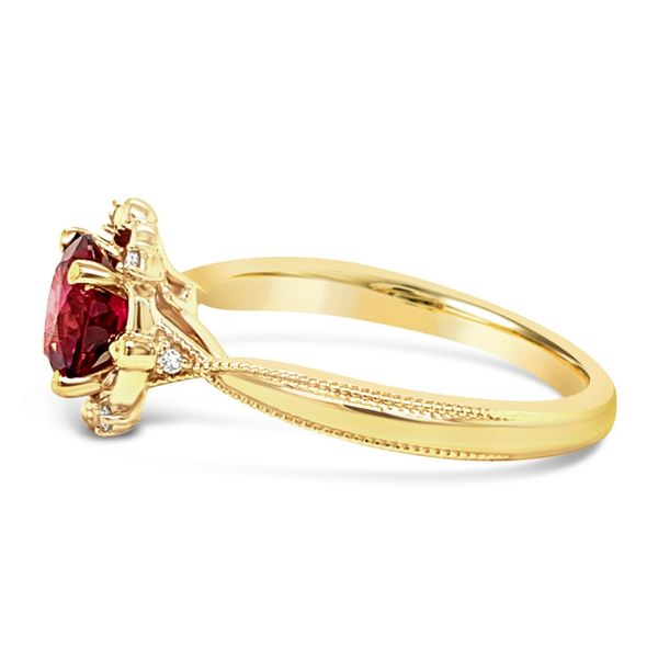 Lady's 14K Yellow Gold Rhodolite Garnet Diamond Engagement Ring Image 3 Texas Gold Connection Greenville, TX
