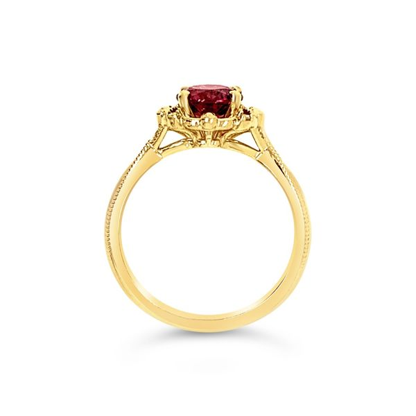 Lady's 14K Yellow Gold Rhodolite Garnet Diamond Engagement Ring Image 4 Texas Gold Connection Greenville, TX