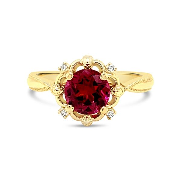 Lady's 14K Yellow Gold Rhodolite Garnet Diamond Engagement Ring Texas Gold Connection Greenville, TX