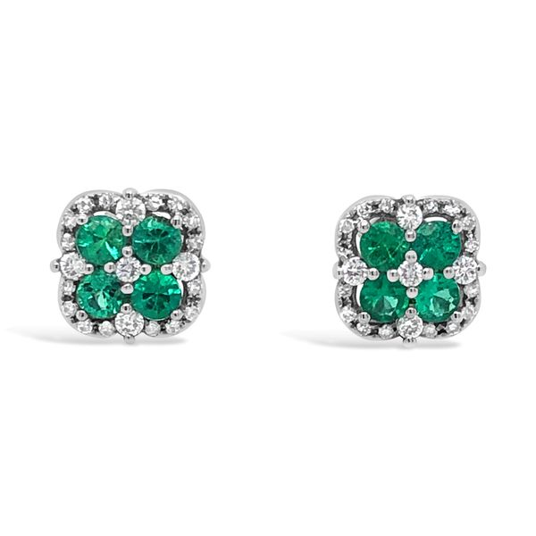 Lady's 14K White Gold Emerald Stud Earrings Texas Gold Connection Greenville, TX