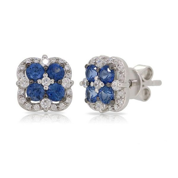 14K White Gold Sapphire and Diamond Earrings Texas Gold Connection Greenville, TX