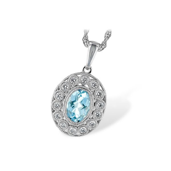 Lady's 14K White Gold Antique Style Aqua Pendant with Twisted Rope Chain Texas Gold Connection Greenville, TX