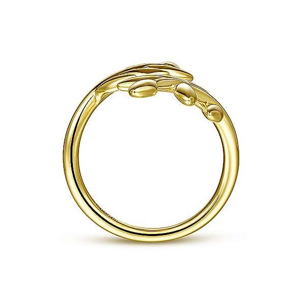14K Yellow Gold Olive Leaf Bypass Ring Image 2 Texas Gold Connection Greenville, TX