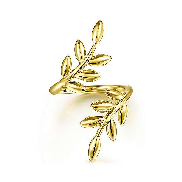 14K Yellow Gold Olive Leaf Bypass Ring Texas Gold Connection Greenville, TX