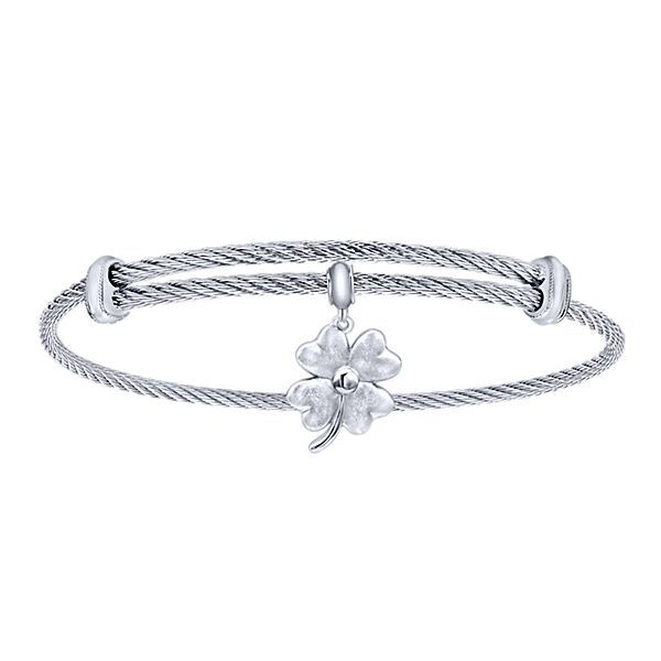 Sterling Silver Cable Bracelet With Four Leaf Clover Charm Texas Gold Connection Greenville, TX