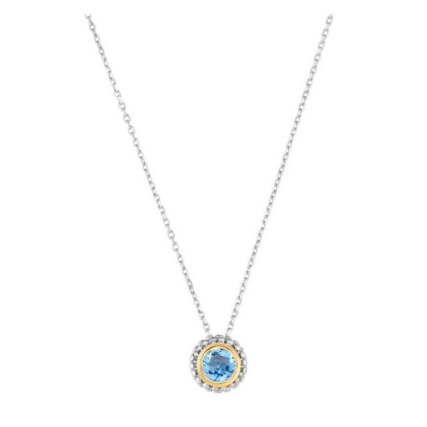 Lady's Blue Topaz Sterling Silver Birthstone Necklace Texas Gold Connection Greenville, TX