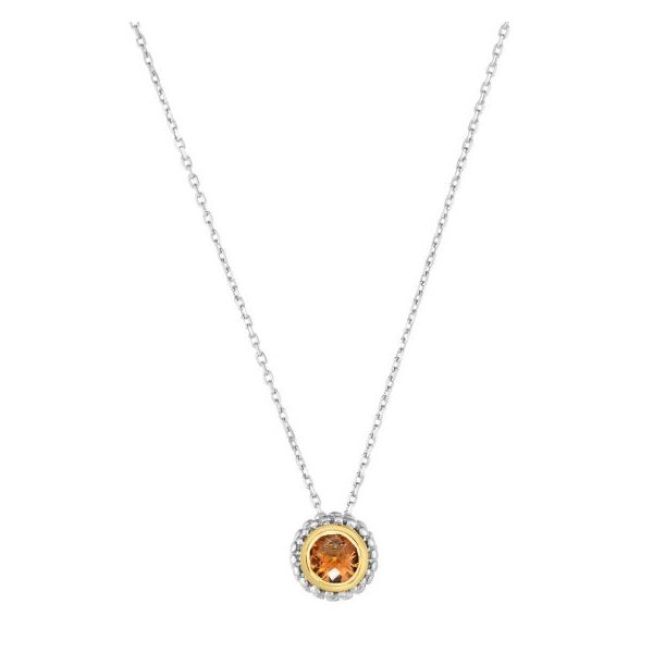 Lady's Sterling Silver Necklace With Round Citrine Texas Gold Connection Greenville, TX