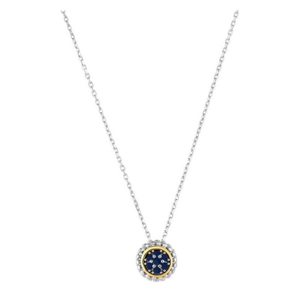 Lady's Sterling Silver Necklace With Round Blue Sapphires Texas Gold Connection Greenville, TX