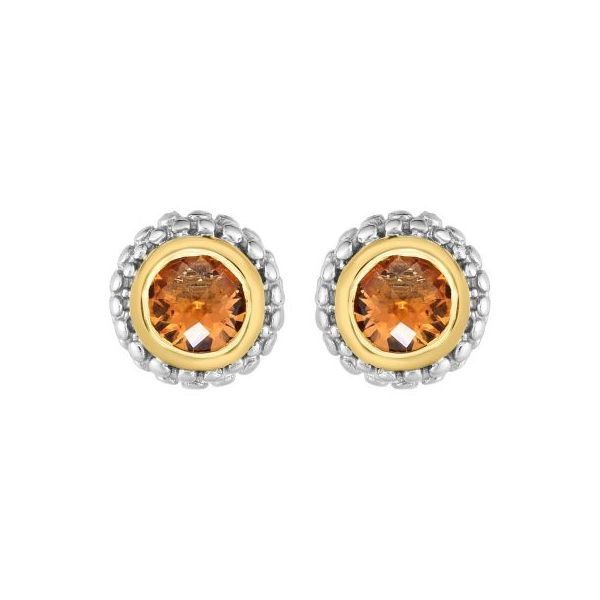 Lady's Sterling Silver Stud Earrings With Round Citrines Texas Gold Connection Greenville, TX