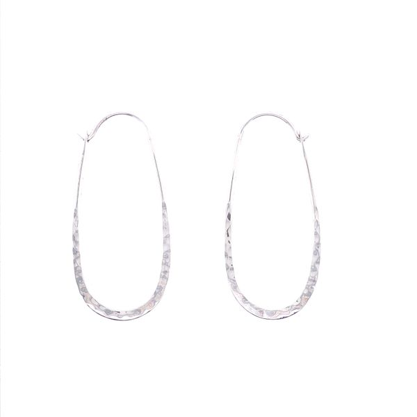 Sterling Silver Rustic Oblong Hammered Hoop Earrings Texas Gold Connection Greenville, TX