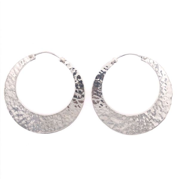 Sterling Silver Large Hammered Hoops Texas Gold Connection Greenville, TX