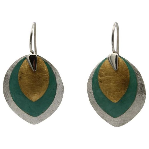 Sterling Silver Tri-Color Drop Earrings Texas Gold Connection Greenville, TX