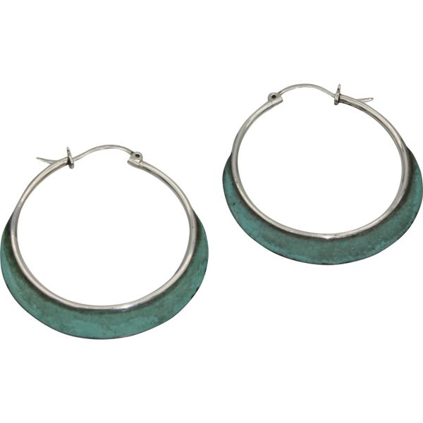 Sterling Silver Hoop Earrings with Oxidized Copper Texas Gold Connection Greenville, TX