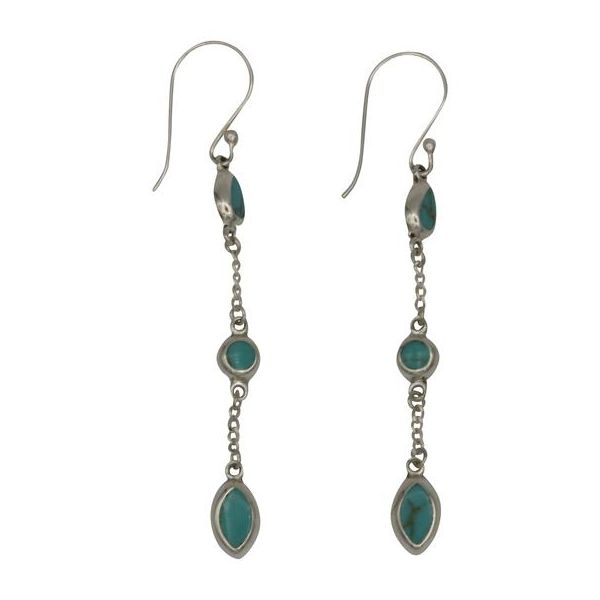 Sterling Silver Triple Turquoise Drop Earrings Texas Gold Connection Greenville, TX