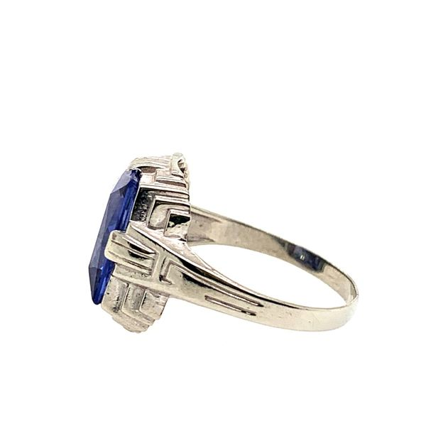 PRE-OWNED Vintage 10K White Gold Synthetic Sapphire Ring Image 2 Texas Gold Connection Greenville, TX