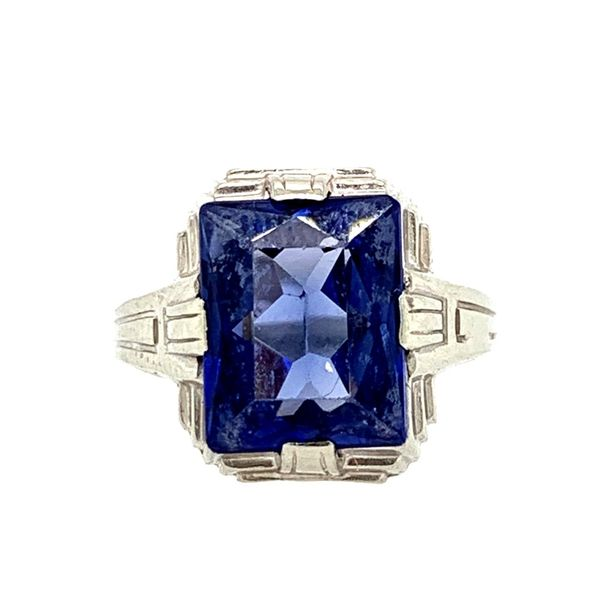 PRE-OWNED Vintage 10K White Gold Synthetic Sapphire Ring Texas Gold Connection Greenville, TX