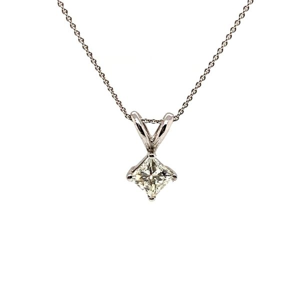 PRE-OWNED 14K White Gold Princess Cut Diamond Pendant Necklace Texas Gold Connection Greenville, TX