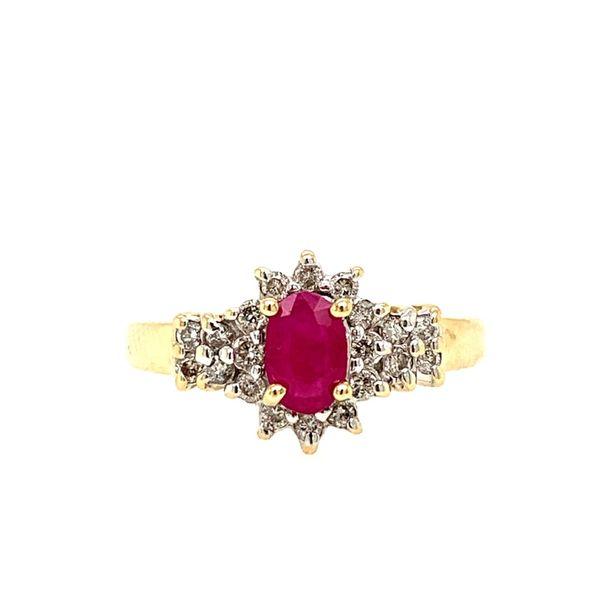 PRE-OWNED 14K Yellow Gold Ruby and Diamond Ring Texas Gold Connection Greenville, TX