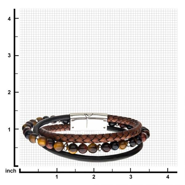 Tiger Eye Beads with Brown Braided and Black Leather Layered Bracelet Image 2 Texas Gold Connection Greenville, TX