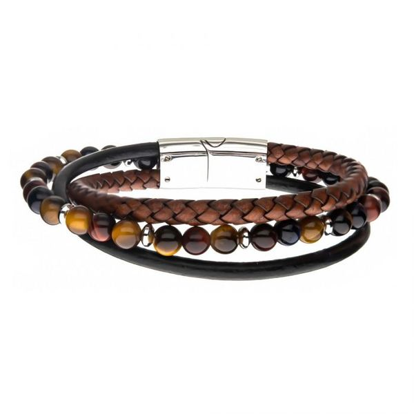 Tiger Eye Beads with Brown Braided and Black Leather Layered Bracelet Texas Gold Connection Greenville, TX
