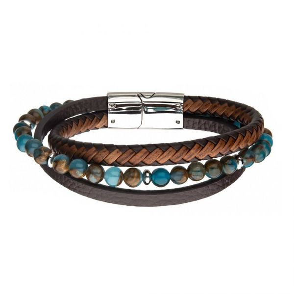 Blue & Brown Beads with Brown Leather Layered Bracelet Texas Gold Connection Greenville, TX