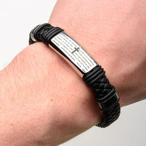 Black Braided Leather with Lord's Prayer ID Steel Bracelet Image 2 Texas Gold Connection Greenville, TX
