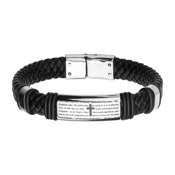 Black Braided Leather with Lord's Prayer ID Steel Bracelet Texas Gold Connection Greenville, TX