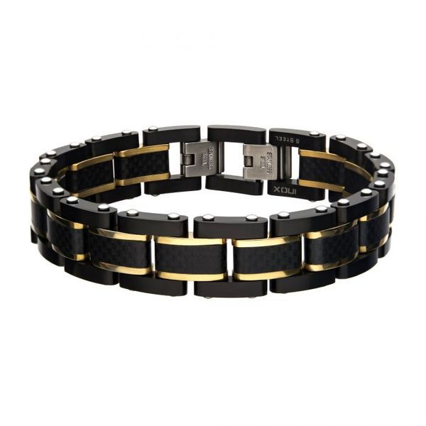 Black Carbon Fiber with Gold Plated Link Bracelet Texas Gold Connection Greenville, TX
