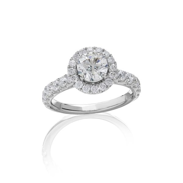 14kt WG 1.50ct TW LAB GROWN Diamond Halo Engagement ring Carroll's Jewelers Doylestown, PA