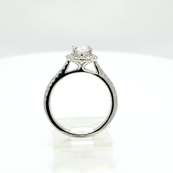 14kt WG 1.35ct TW Oval Diamond Halo Engagement Ring Image 2 Carroll's Jewelers Doylestown, PA