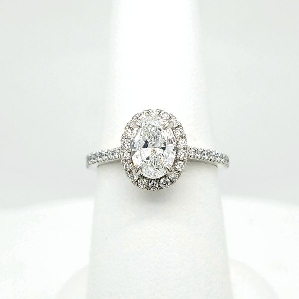 14kt WG 1.35ct TW Oval Diamond Halo Engagement Ring Carroll's Jewelers Doylestown, PA