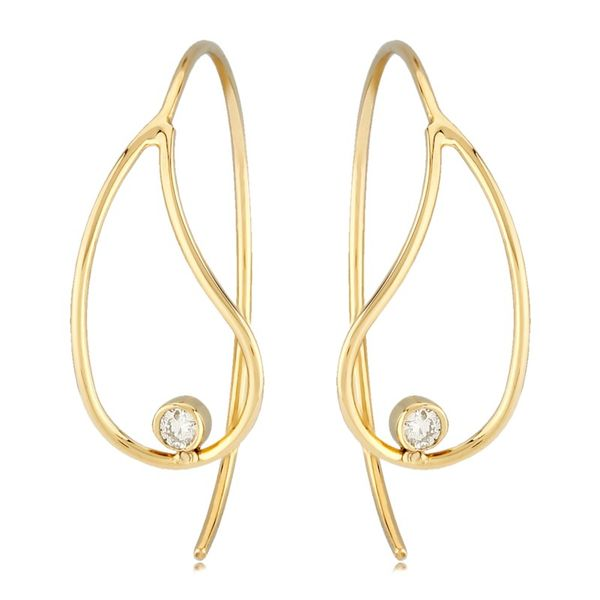 14 Karat Yellow Gold Teardrop Earrings with Diamonds Carroll's Jewelers Doylestown, PA