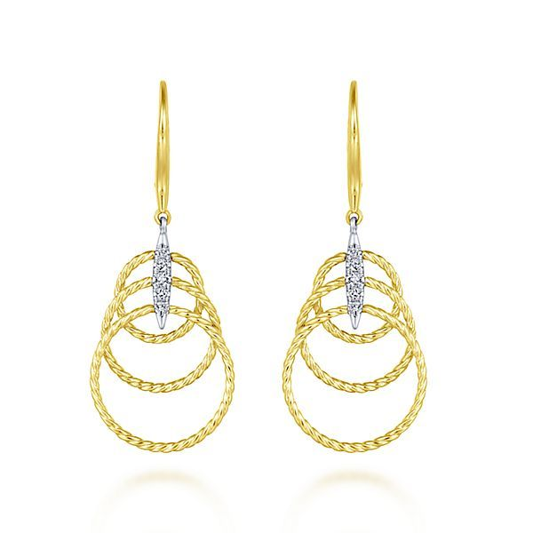14kt YG Dangle Circle Earrings with Diamond Accents Carroll's Jewelers Doylestown, PA