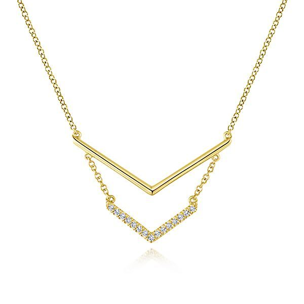 14kt YG Double V Bar Diamond Necklace Carroll's Jewelers Doylestown, PA
