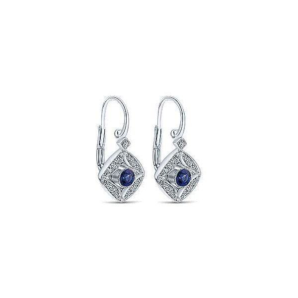 14kt WG Sapphire & Diamond Vintage Inspired Earrings Image 2 Carroll's Jewelers Doylestown, PA