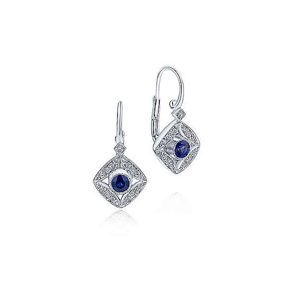 14kt WG Sapphire & Diamond Vintage Inspired Earrings Carroll's Jewelers Doylestown, PA