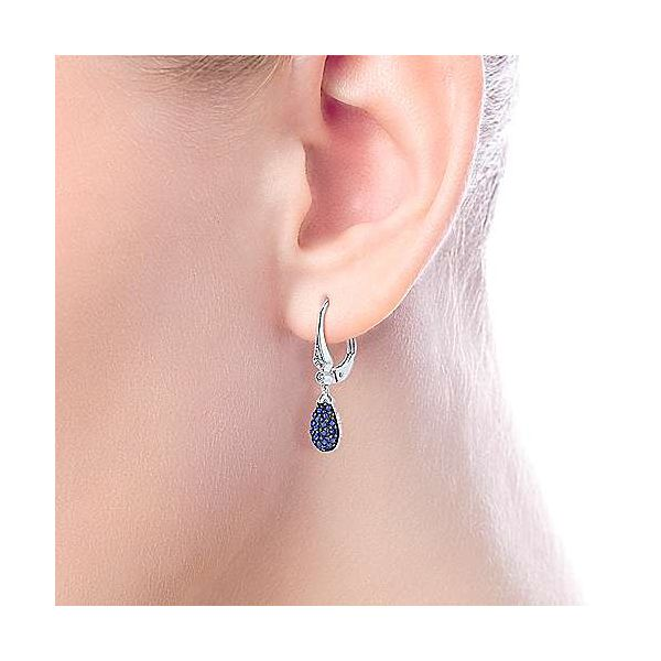 14kt WG Sapphire and Diamond Dangle Earrings Image 2 Carroll's Jewelers Doylestown, PA