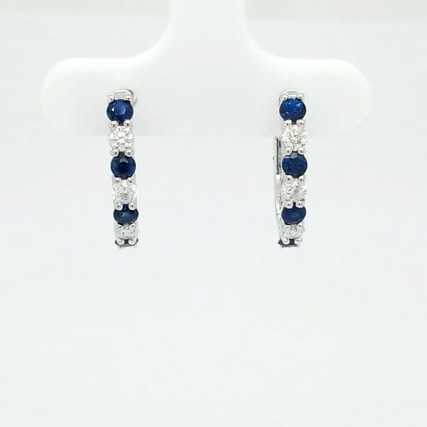 14kt WG Sapphire and Diamond Huggie Hoops Carroll's Jewelers Doylestown, PA