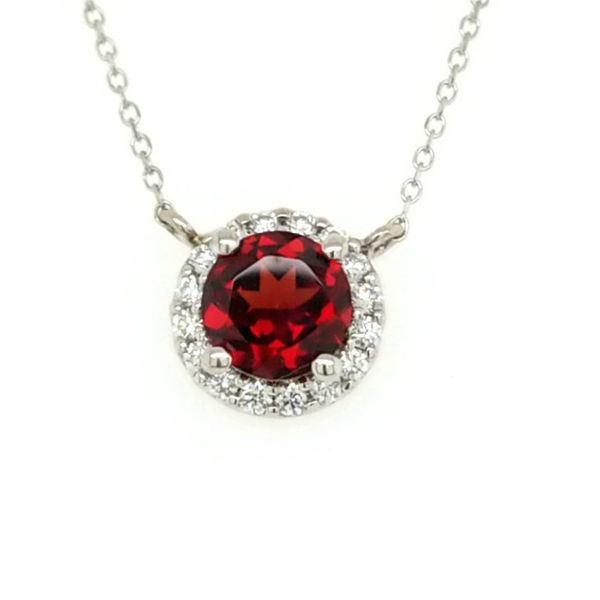 14kt WG Garnet and Diamond Pendant Carroll's Jewelers Doylestown, PA