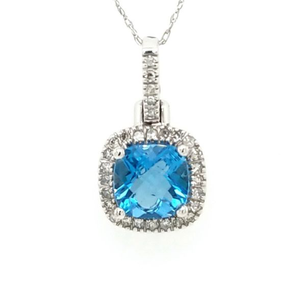 10kt WG Swiss Blue Topaz and Diamond Pendant Carroll's Jewelers Doylestown, PA