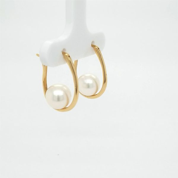 14kt YG Pearl and Hoop Earrings Image 2 Carroll's Jewelers Doylestown, PA