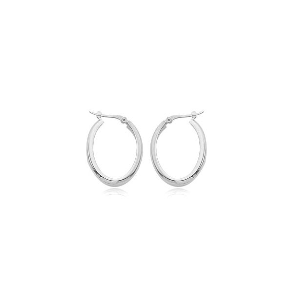 14 Karat White Small Oval 1/2 round tube Hoop Earrings Carroll's Jewelers Doylestown, PA