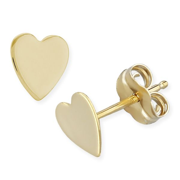 14kt YG Heart Stud Earrings Carroll's Jewelers Doylestown, PA