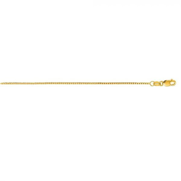 14kt YG 1.1mm solid Box chain 16